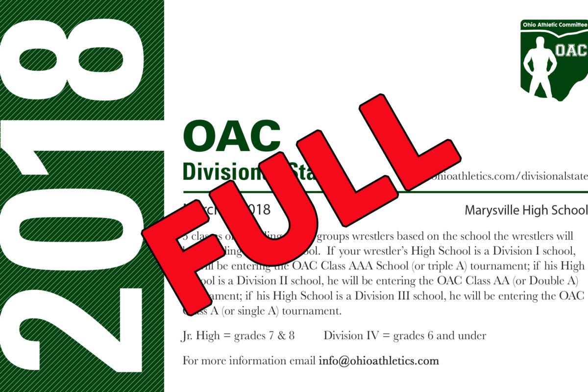 Ohio Divisional State Maxed Out- Sign up for the Waiting List