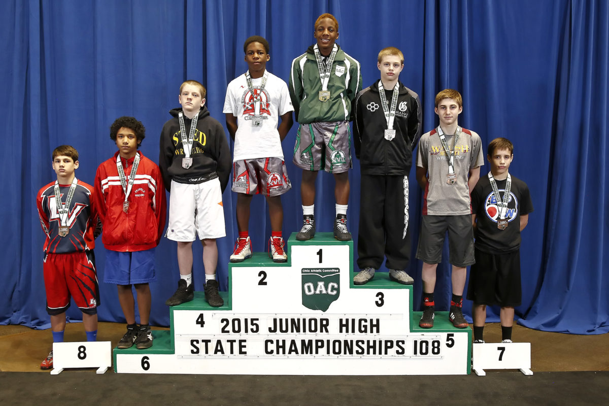 2015 Junior High State Wrestling 108lbs, Elan Heard, Red vs Jordan Decatur, Green